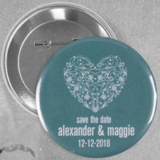 Flower Heart Wedding Personalized Button Pin, 2.25
