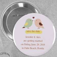 Love Birds Wedding Personalized Button Pin, 2.25