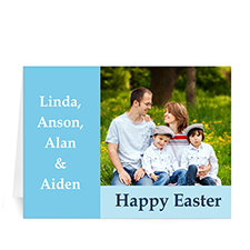 Personalized Easter Blue Photo Greeting Cards, 5X7 Folded Modern