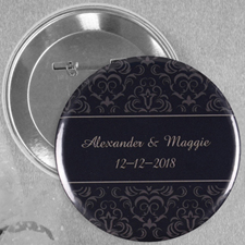 Black Damask Wedding Personalized Button Pin, 2.25
