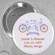 Tandem Bike Wedding Custom Button Pin, 2.25