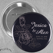 Elegant Rose Save The Date Personalized Button Pin, 2.25