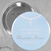 Blue Circle Baptism Custom Button Pin, 2.25