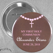 Baby Girl Baptism Custom Button Pin, 2.25