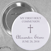 Grey Christening Simple Cross Custom Button Pin, 2.25