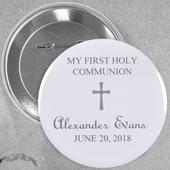 Grey Christening Simple Cross Custom Button Pin, 2.25