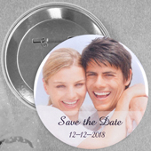 Wedding Photo Personalized Button Pin, 2.25