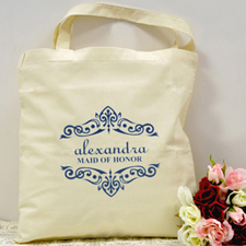 Royal Blue Swirly Vines Personalized Wedding Bag