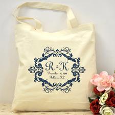 Navy Swirl Border Personalized Wedding Bag
