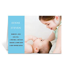 Personalized Baby Blue Photo Birth Announcements Cards, 5X7 Folded Modern