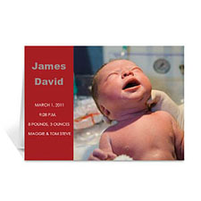 Personalized Classic Red Photo Birth Announcements Cards, 5X7 Folded Modern