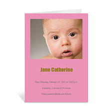 Personalized Baby Pink Photo Greeting Cards, 5X7 Portrait Folded