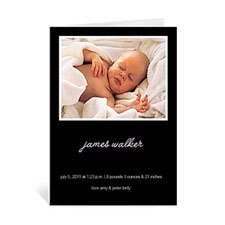 Personalized Classic Black Baby Shower Photo Cards, 5X7 Portrait Folded