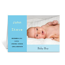 Personalized Baby Blue Baby Shower Photo Cards, 5X7 Folded Modern