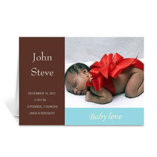 Personalized Chocolate Brown Baby Shower Photo Cards, 5X7 Folded Modern