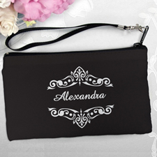 Personalized Black Swirly Vines Clutch Bag (5.5X10 Inch)