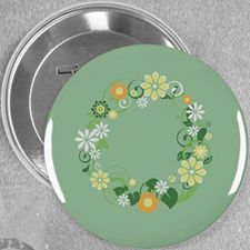 Floral Spring Wedding Custom Button Pin, 3