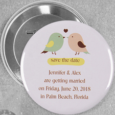 Love Birds Wedding Personalized Button Pin, 3