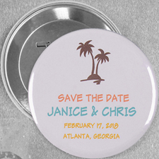 Tropical Beach Palm Tree Personalized Button Pin, 3