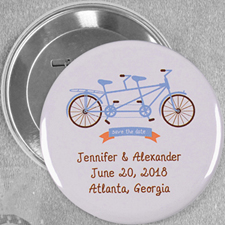 Tandem Bike Wedding Custom Button Pin, 3