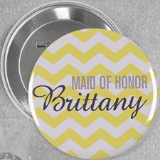 Yellow Chevron Pattern Personalized Button Pin, 3