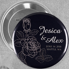 Elegant Rose Save The Date Personalized Button Pin, 3