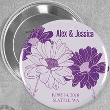 Save The Date Daisy Wedding Custom Button Pin, 3