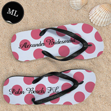 Large Carol Dot Personalized Flip Flops, Men Large