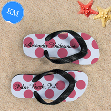 Design My Own Custom Name Carol Polka Dot Kids Medium Flip Flops