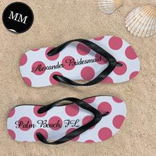 Design My Own Custom Name Carol Polka Dot Men Medium Flip Flop Sandals