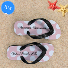 Design My Own Custom Name Light Pink Polka Dot Kids Medium Flip Flops