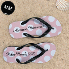 Design My Own Custom Name Light Pink Polka Dot Men Medium Flip Flop Sandals