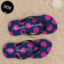 Design My Own Dot Navy Pink Personalized Monogrammed, Men Medium Flip Flop Sandals