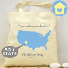 Personalized Us Map Wedding Tote  House Bag
