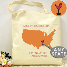 Personalized Us Map Wedding Tote  Martinez Bag