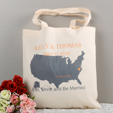 Personalized Us Map Wedding Tote  Sun Bag