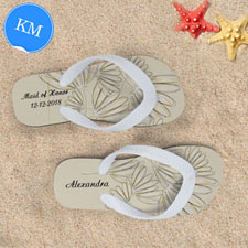 Design My Own Daisies Personalized Wedding Kids Medium Flip Flops