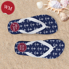 Create My Own Blue White Anchors Red Monogrammed Women Medium Flip Flop Sandals