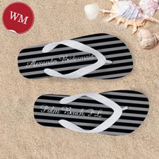 Create My Own Chic Black Stripes Pattern White Straps Women Medium Flip Flop Sandals