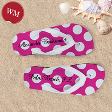 Create My Own Custom Name Bright Pink Polka Dot ,Women's Medium Flip Flop Sandals