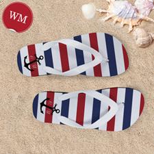Create My Own Navy Red White Stripes Anchor Women Medium Flip Flop Sandals