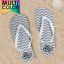 Create My Own Chevron Monogrammed  Many Colors White Straps Women Medium Flip Flop Sandals