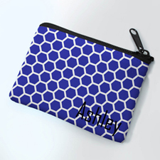 Personalized Navy Honeycomb Small Coin Purse (3.5