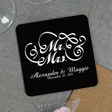 Personalized Mr. And Mrs. Wedding Cork Coaster