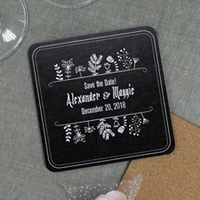 Black Vintage Personalized Wedding Cork Coaster