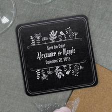 Black Vintage Personalized Wedding Cork Coaster