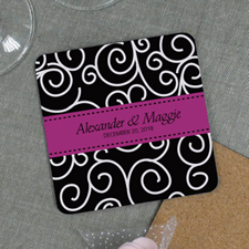 Hot Pink Ribbon Personalized Wedding Cork Coaster