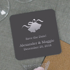 Personalized Wedding Bell Cork Coaster