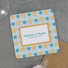Personalized Beach Destination Wedding Cork Coaster