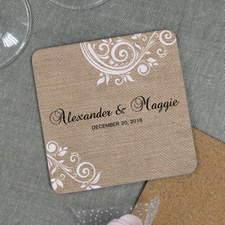 Natural White Lace Engagement Personalized Cork Coaster